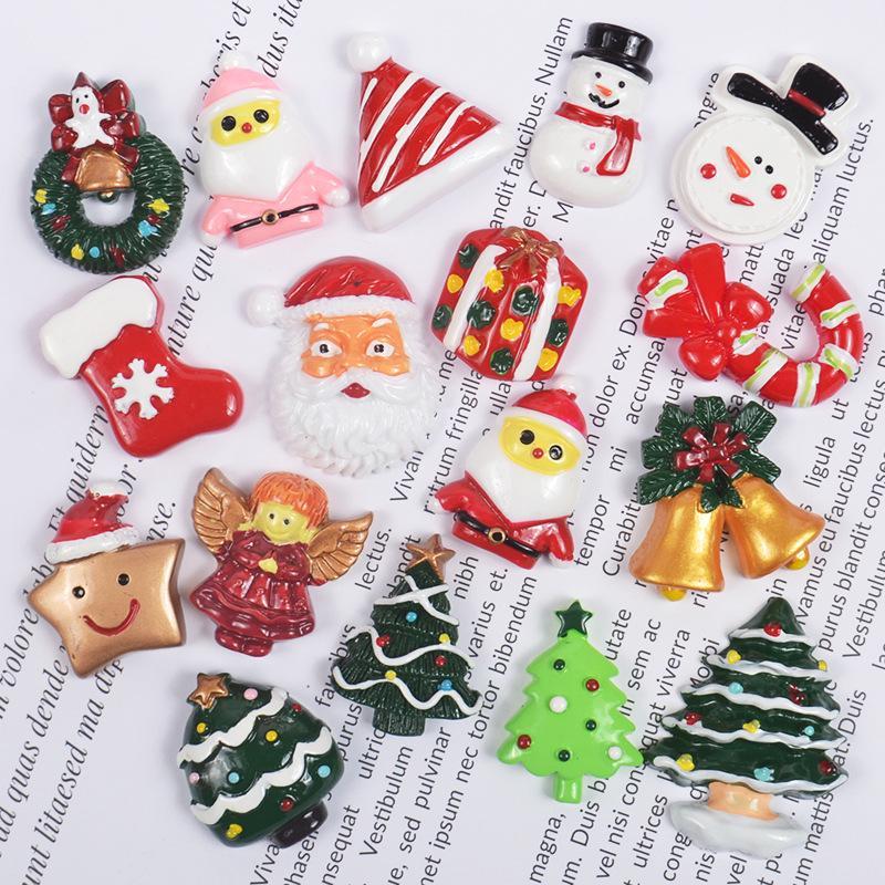 10Pcs Mini Mixed Blessed Resin Bag Christmas Decoration DIY Accessory Xmas Decor