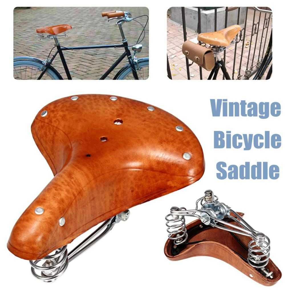 Color : Brown Soft Wide Bicycle Saddle Comfortable Bike Seat Vintage Bicycle Leather Saddle Pad Waterproof Cycling Parts Accessories