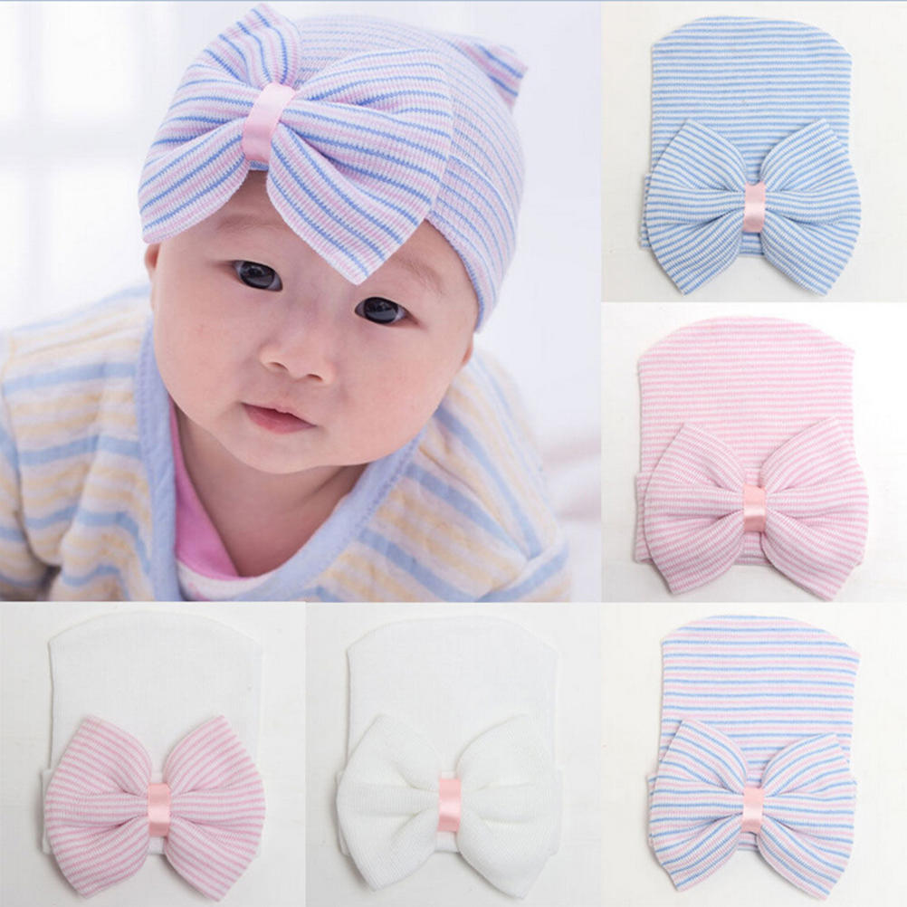 Girls Infant Stripe Soft Hat with Bow Cap Newborn Beanie Comfy Accessory Solid