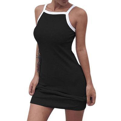 54b6acd38af Случайные сексуальные летом рукавов ремешок женщин платье короткий тонкий  горячие сарафан платье Robe Vestidos одежда