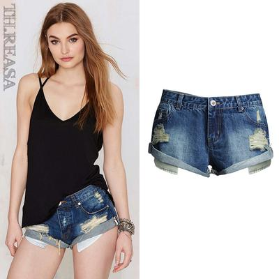 d3cfa3a676e5 Vintage ripped hole fringe blue denim shorts women Casual pocket jeans  summer girl hot shorts