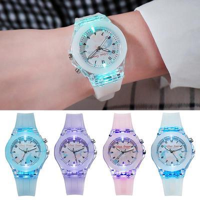 Children Candy Color Luminous Quartz Watch Fashion Kids Wristwatch Gift