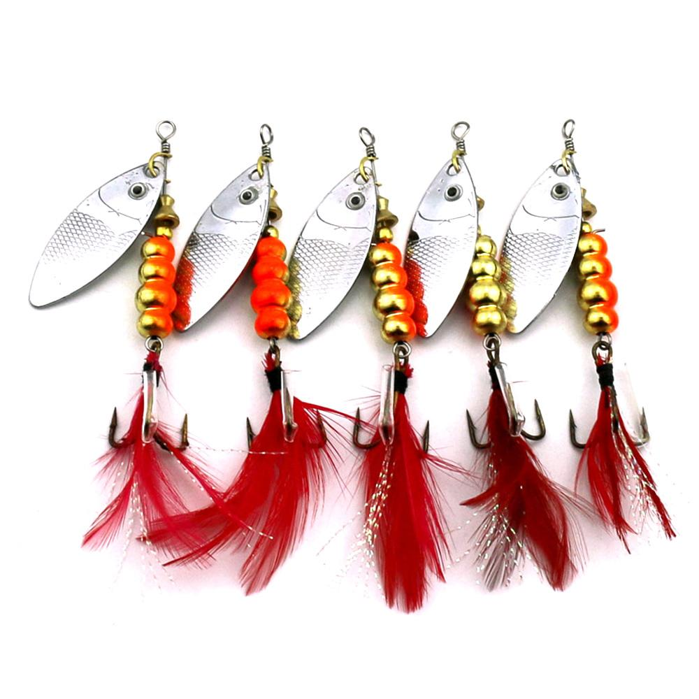 Metal Fishing Lure Sequins Spinner Spoon Baits Feather Fishhook Tackle Accessory