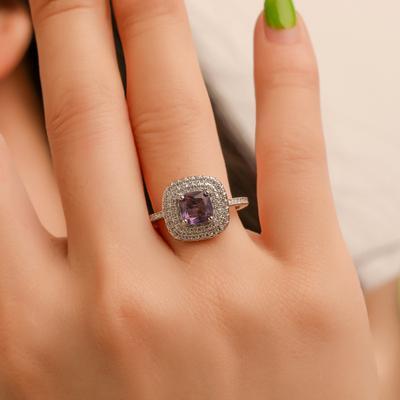Women Fashion Noble Purple Zircon Inlaid Diamond Alloy Engagement Finger Ring Jewelry