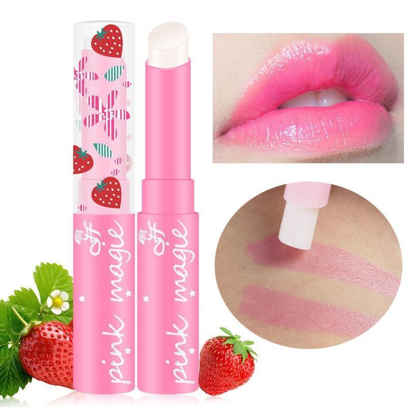恒芳草莓变色小口红唇膏 粉红持久滋润保湿不掉色H9036 跨境爆款