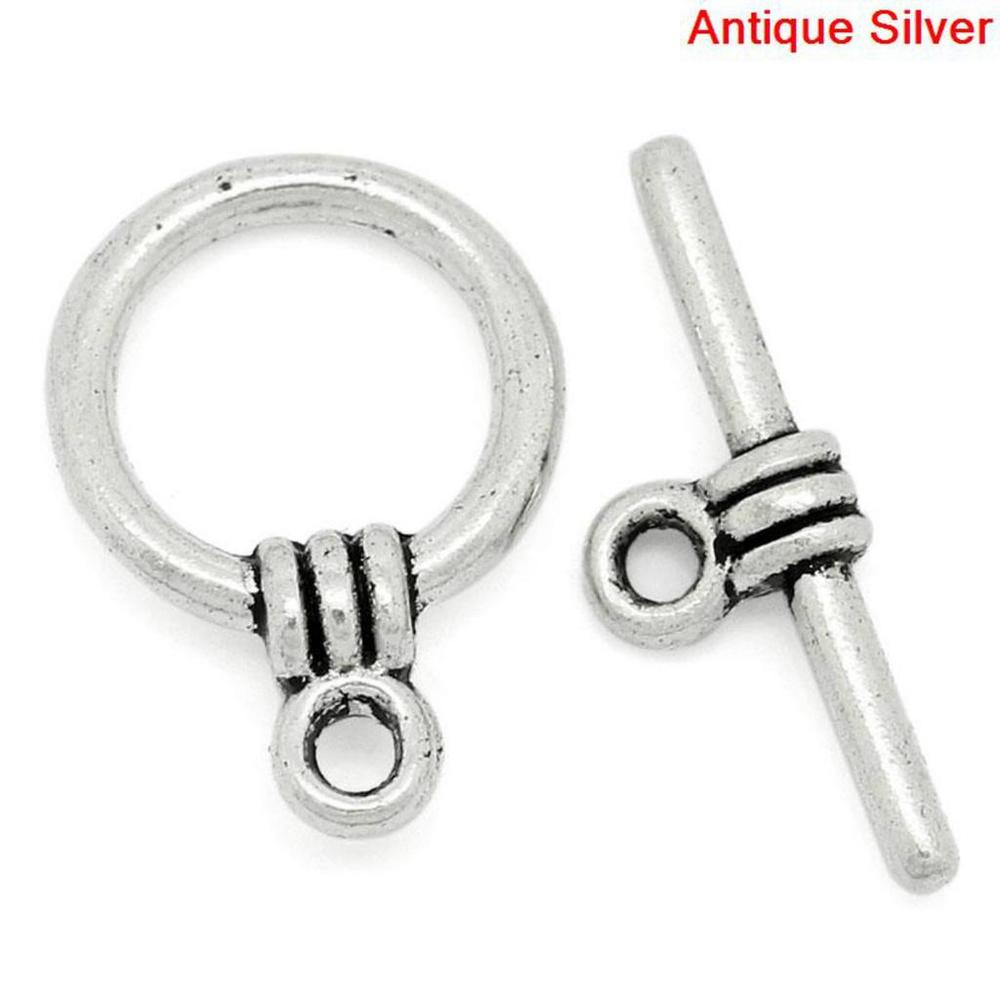 Tibetan Leaf Clasp Antique silver 6 Pack Toggle Clasps