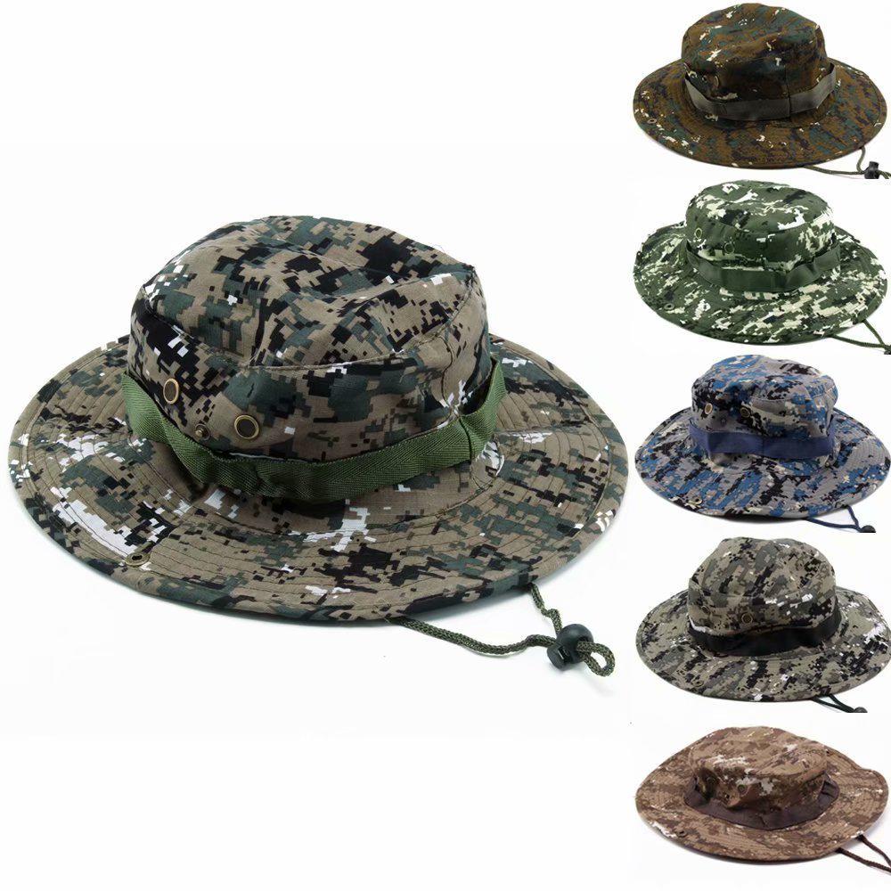 a49433e0e6e90 Chapéu de exército militar Boonie Cap Camo pesca caminhadas balde Unisex