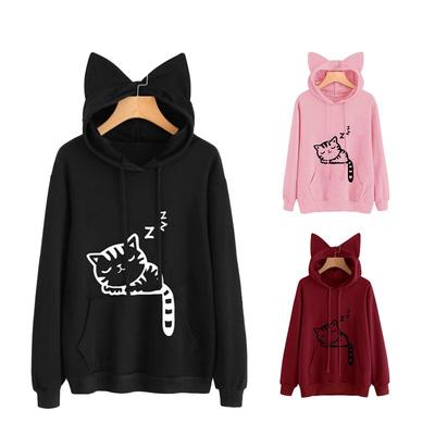 Fashion Teens Girls Sweatshirt,Cute Kitty Cat Printed Hoodies Cat Ear Hooded Drawstring Pullover
