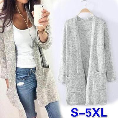 f2d9b9e7584b Женщины моды открытие свободные кардиганы свитеры длинные длина осень  верхняя ...