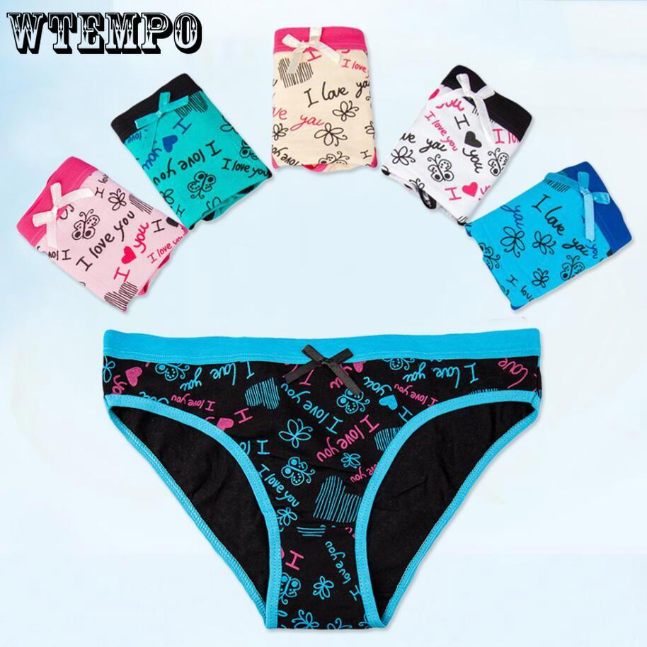 4 Pcs Packed Love Dot Cotton Girl Women Briefs Panties Underpants Underwear L-XL