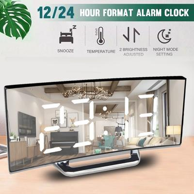 7 Inch Digital Alarm Clock Curved Dimmable Led Electronic Digital Desktop Clock For Kids Bedroom Large Number Table Clock