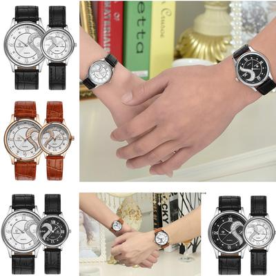 1 Pair Fashion Ultra Thin Leather Band Couple Wrist Watch Romantic Lovers True Love Watches Gift