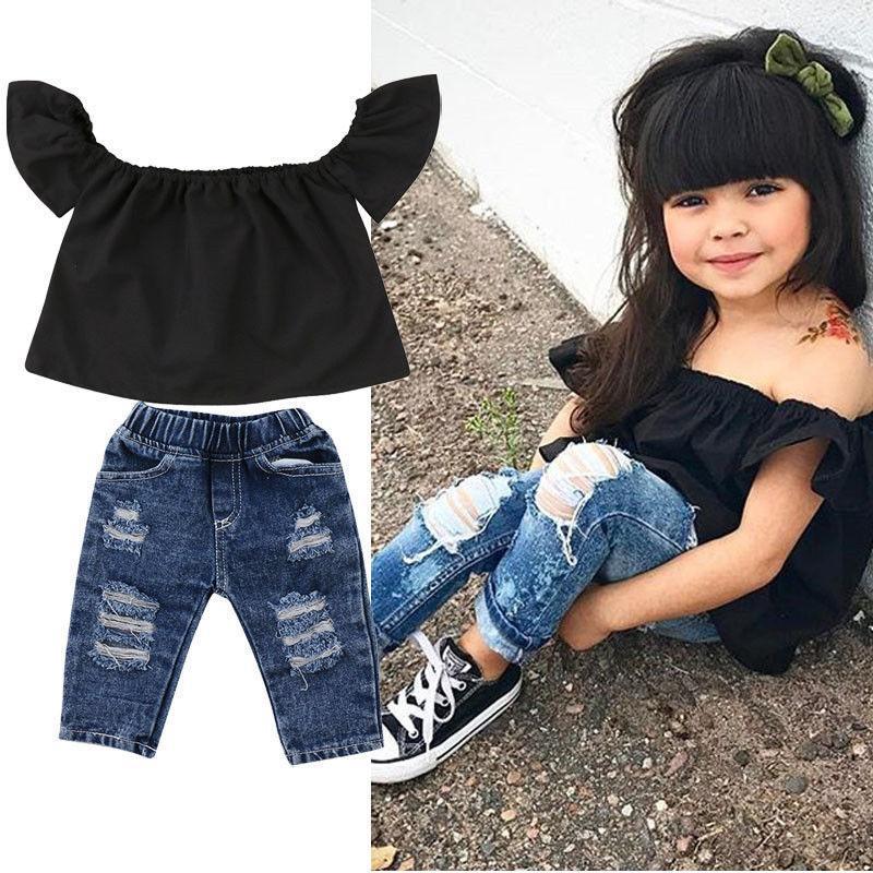 Toddler Kids Baby Girls Off-Shoulder Tops+Denim Shorts+Belt Outfits Set Clothes