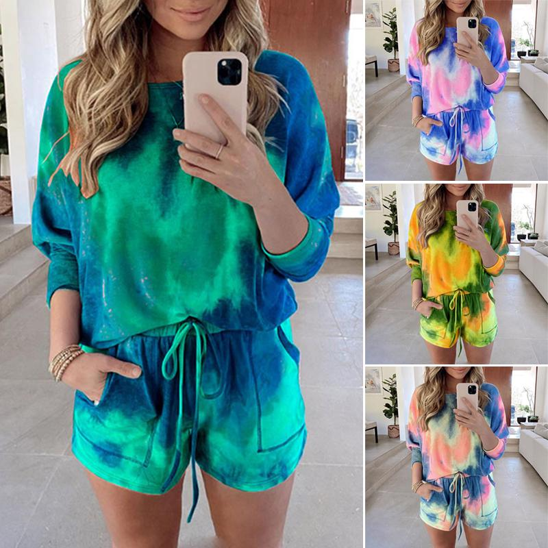 Womens 2 Piece Outfits One Shoulder Summer Casual Print T Shirts Bodycon Shorts Pant Set