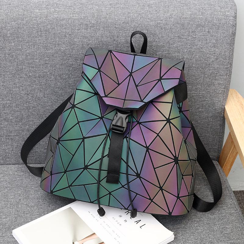 Luminous Backpack Womens Geometric Backpack Sequins Folding Shinning In Dark Noctilucent Bag
