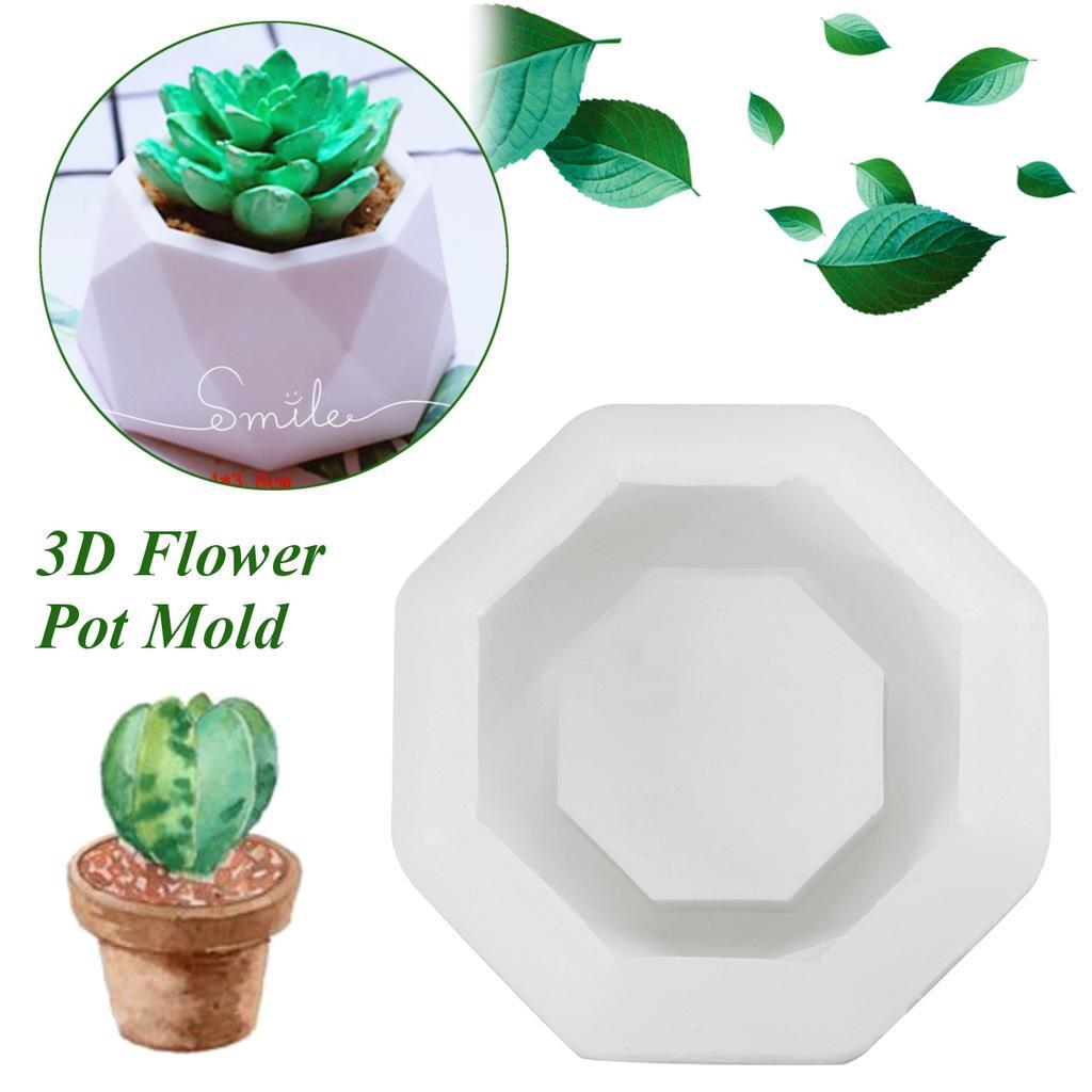 Octagonal Geometric 3D Flower Pot Silicone Mold Succulent Planter Decoration DIY