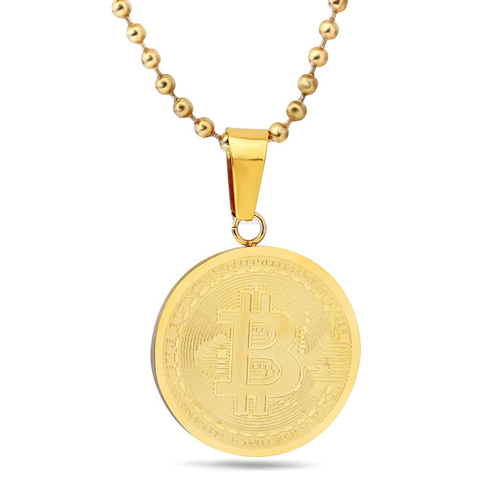 Unisex moneda virtuala Bitcoin Model pandantiv colier vest Titan Steel placare colier