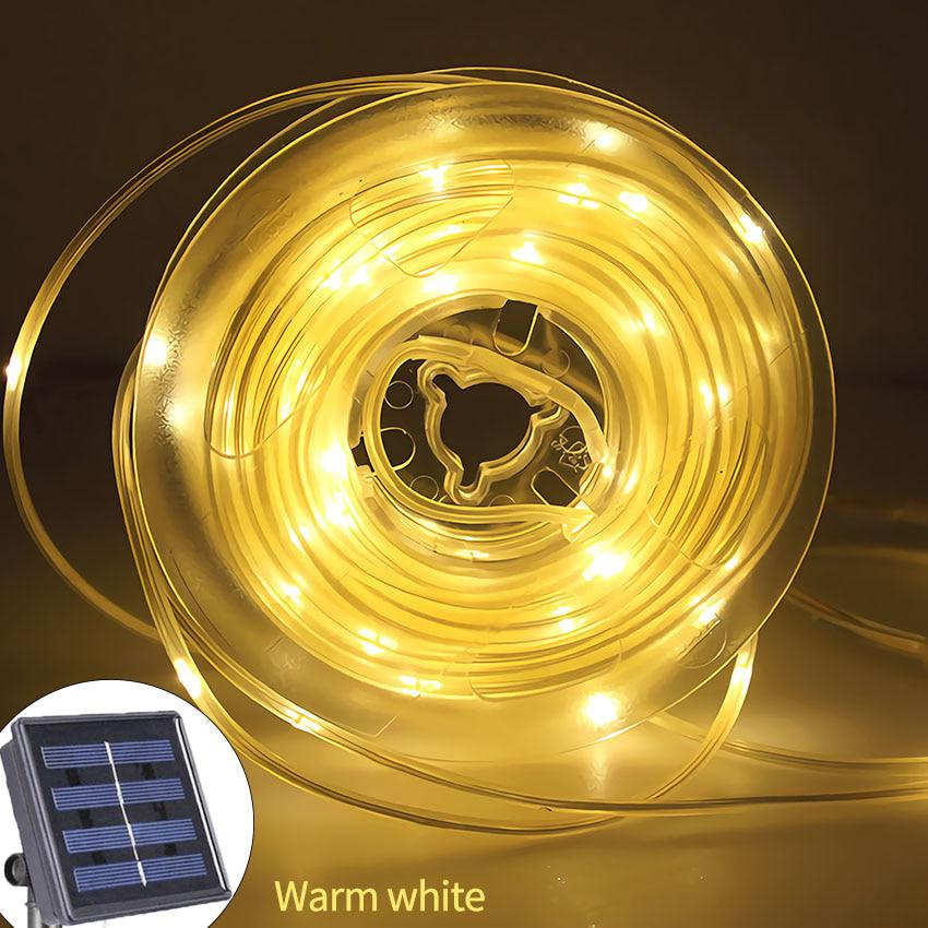 Battery Rope Tube LED Solar Lamp 50//100 LEDs String Lights Outdoor Fairy Holiday