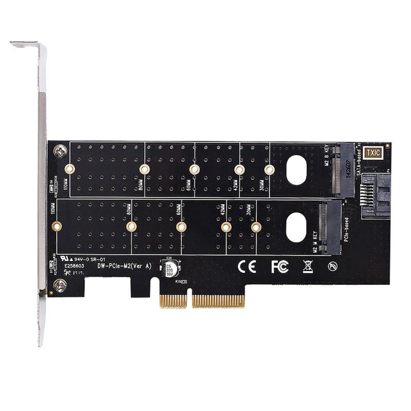 With heatsink Dual M.2 PCIe SSD to PCI-E 4XAdapter