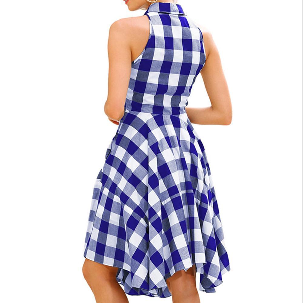 Las mujeres vestido dé vuelta-abajo cuello bolsillos tela escocesa ...