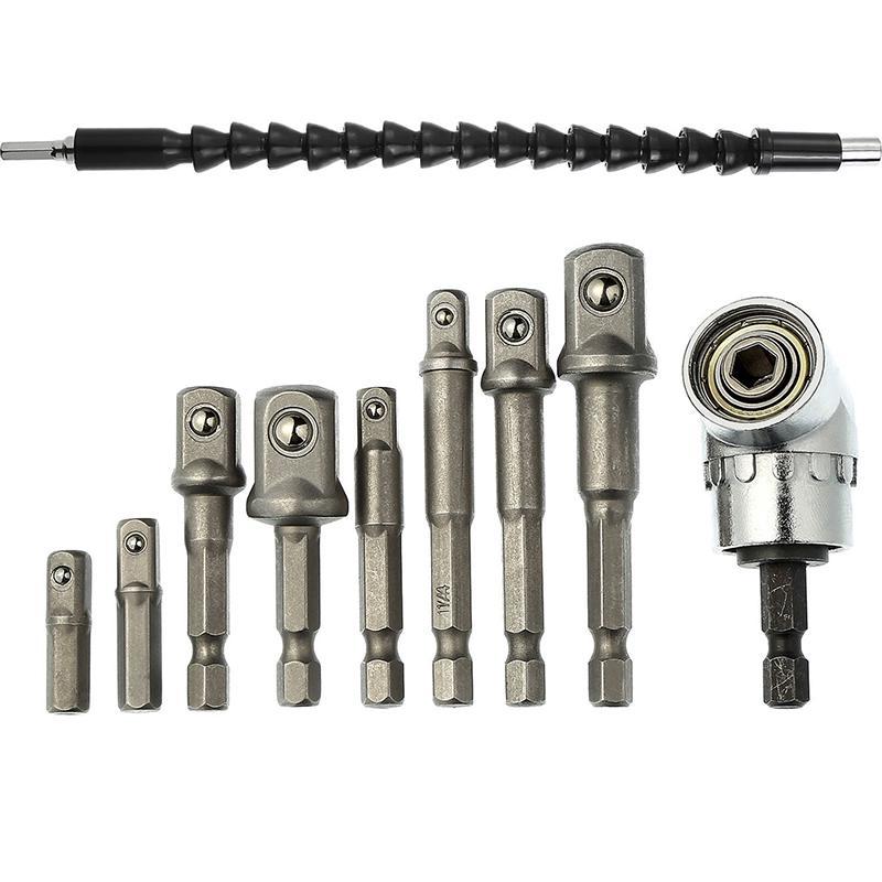 5Pcs 1//4 Hex Flexible Extension Impact Driver Bar Socket Adapter Drill Bit Kit