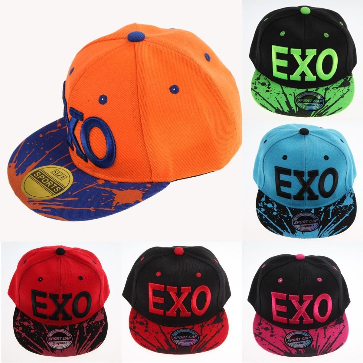 韩版儿童平沿帽EXO棒球帽 户外休闲拼接鸭舌帽