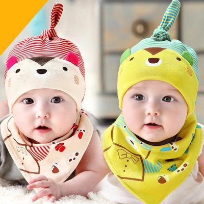 cfb51db7307 Cute Newborn Baby Infant Boys Girls Sleep Hat Cap+Saliva Towel Triangle  Head Scarf Set