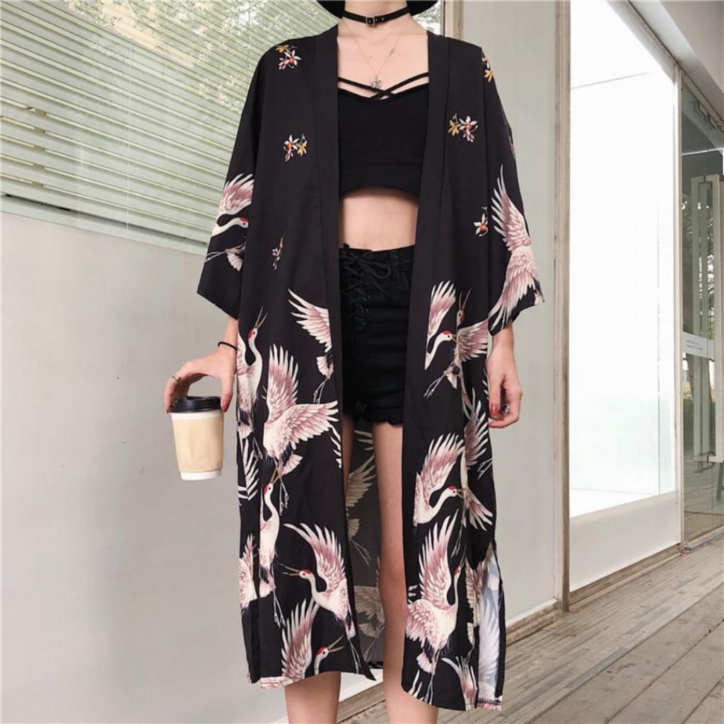 Дамы японское кимоно кардиган куртка кран свободный халат куртка длинный халат купить недорого — выгодные цены, бесплатная доставка, реальные отзывы с фото — Joom