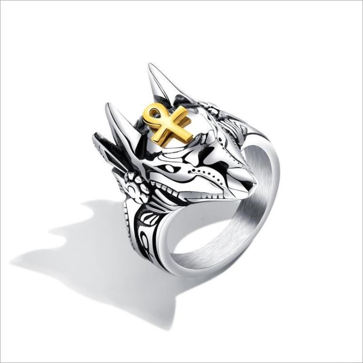 Anubis ancient Egyptian god of death wolf head stainless steel mens rings