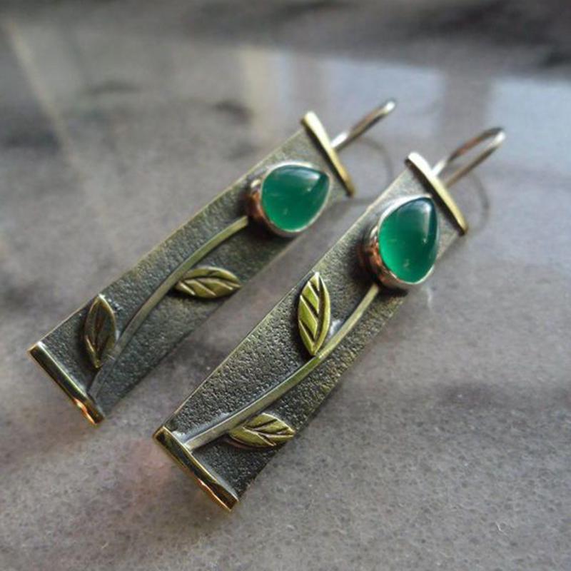Марочних Смарагдового кристал ювелірні квітковий візерунок гачок сережки жінок-річчя подарунковий аксесуари