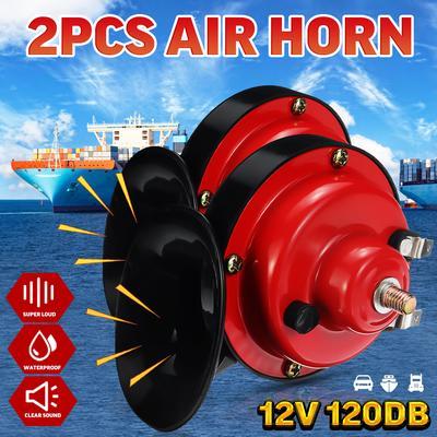 TWIN 12V AIR HORNS AUTO SCOOTER KART HORN SIREN LOUD 117db W// WIRING