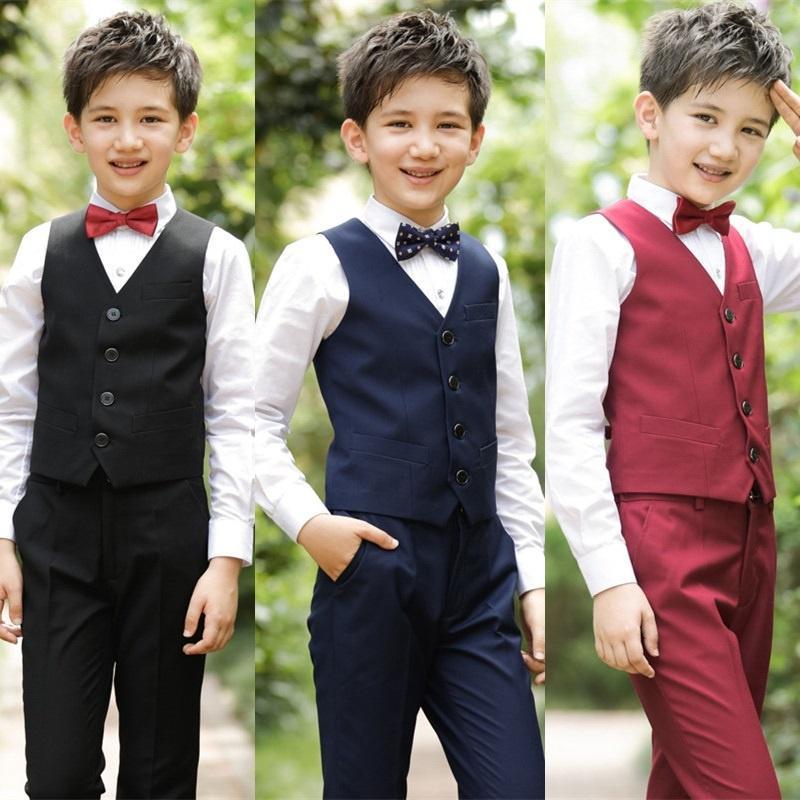 Caballero Vestido de niño con toldos chaleco niño boda traje chicos ... f55bc89fc14c