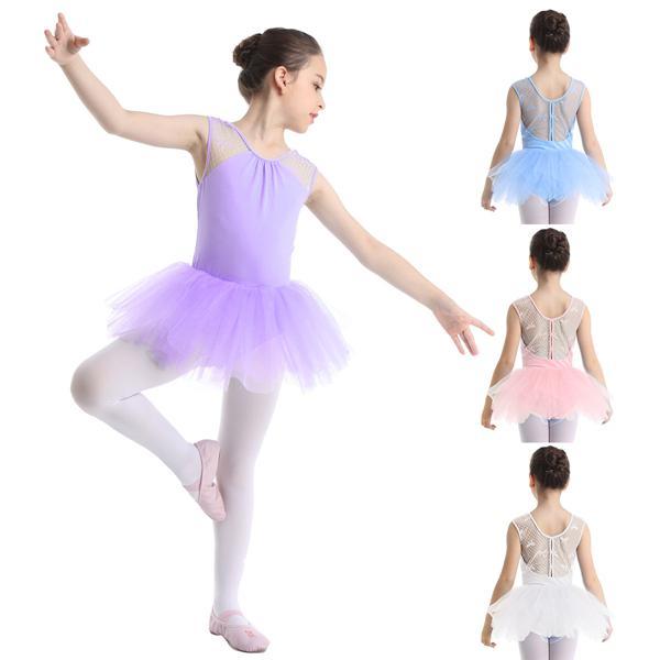 Kids Girl Ballet Dress Skating Halter Gymnastic Tutu Skirt Performance Dancewear