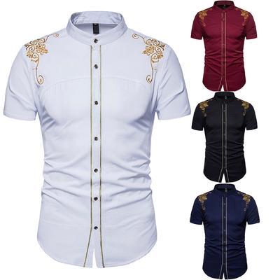 a3aa22a73f3ad0 Moda Męska Lato Casual Bluzki Drukuj Koszula Slim Fit Formalne Koszulki z  krótkim rękawem