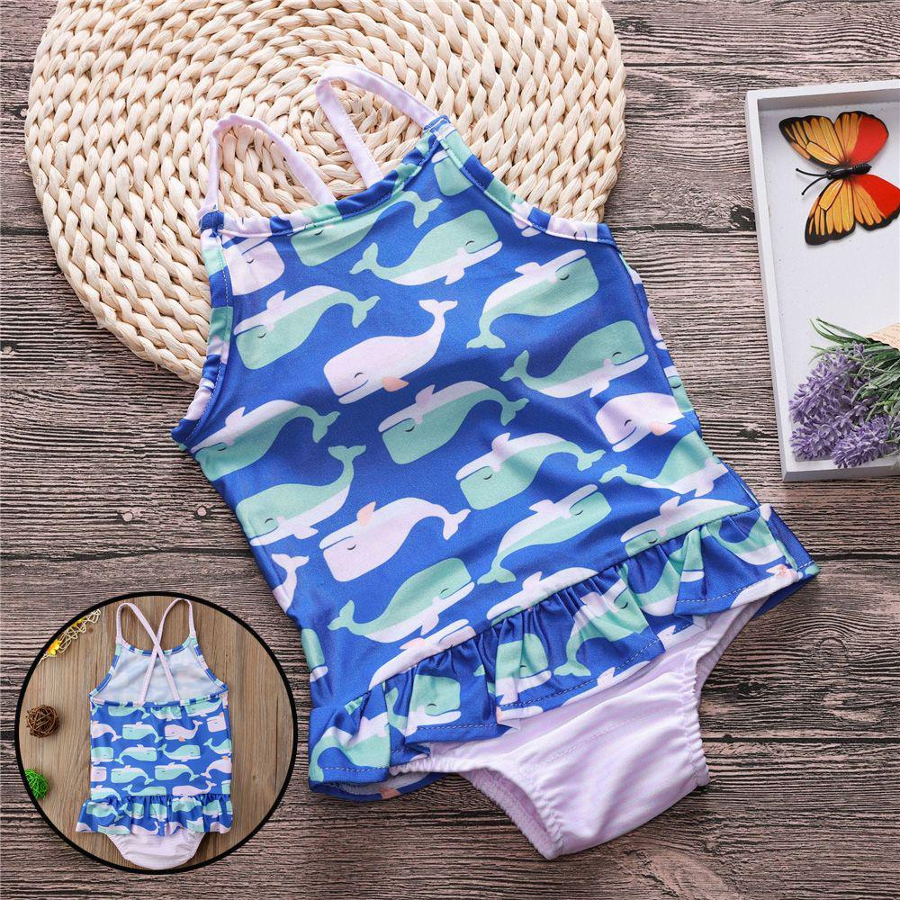 Girls Ruffles Bikini Bathing Suit Baby Whale Swimwear Sleeveless Swimsuit