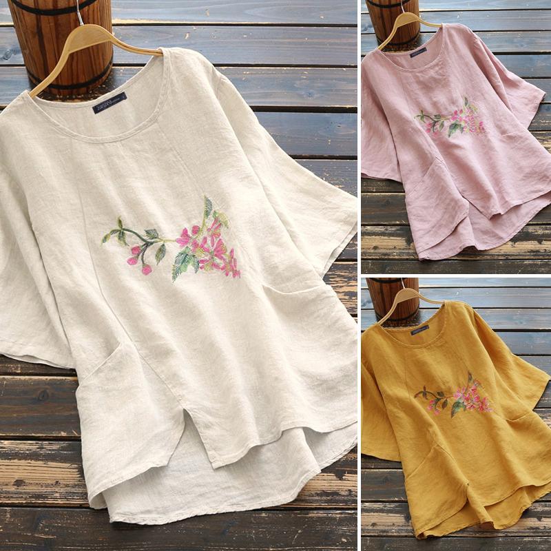 ЗАНЗЕА Летние женщины Короткие рукава Высокий Низкий цветочный печати Случайные Топы Винтаж Pullover Блузка футболки – купить по низким ценам в интернет-магазине Joom