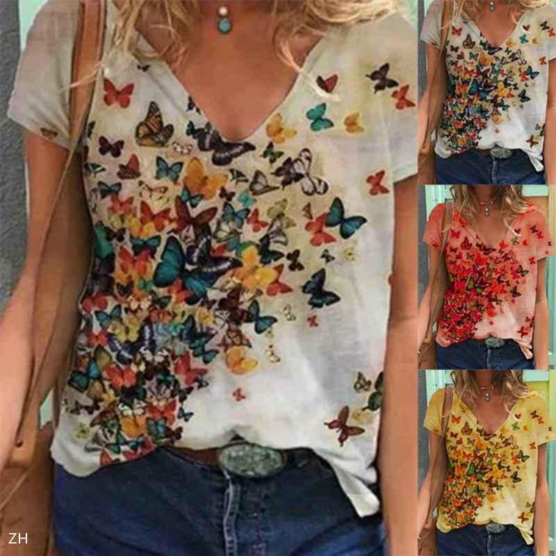 Hotkey Womens Short Sleeve Tops Butterfly Print T-Shirt Blouse Solid Color O-Neck Tee Shirts Print T Shirts Tops Top