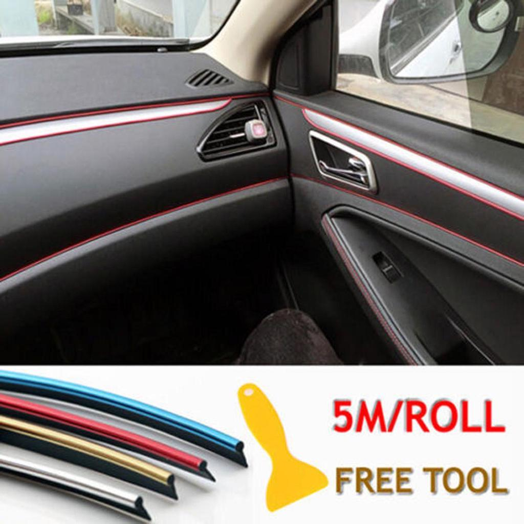 1x 5M Car Interior Decor Door Sticker Moulding Styling Strip Trim Decals Line
