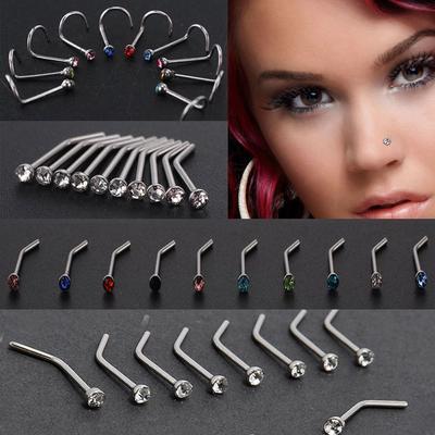 2Pcs Skull Head Nose Ring Body Piercing Surgical Steel Nostril Hoop Screw Stud