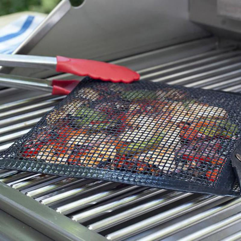 Kithing Barbecue Grid Nonstick Glass Fiber Bbq Grill Mat Barbecue Bag Pad Grill Topper Mesh Net Outdoor Camping Picnics Tools Other Bbq Tools Garden Supplies