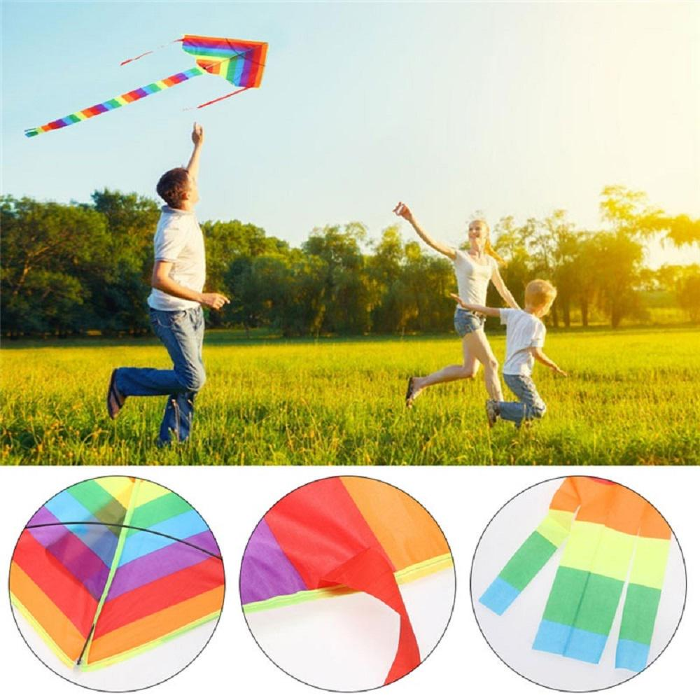 Phoenix Flying Kite With Long Colorful Tail Handle Line Outdoor Fun Kids Toy