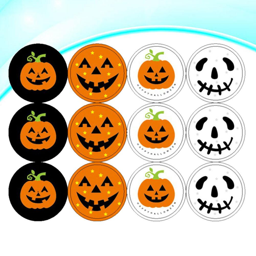 4 Sheets Halloween Stickers Round Pumpkin Skull Stickers Candy Bags Labels for Halloween Party Gift Supplies