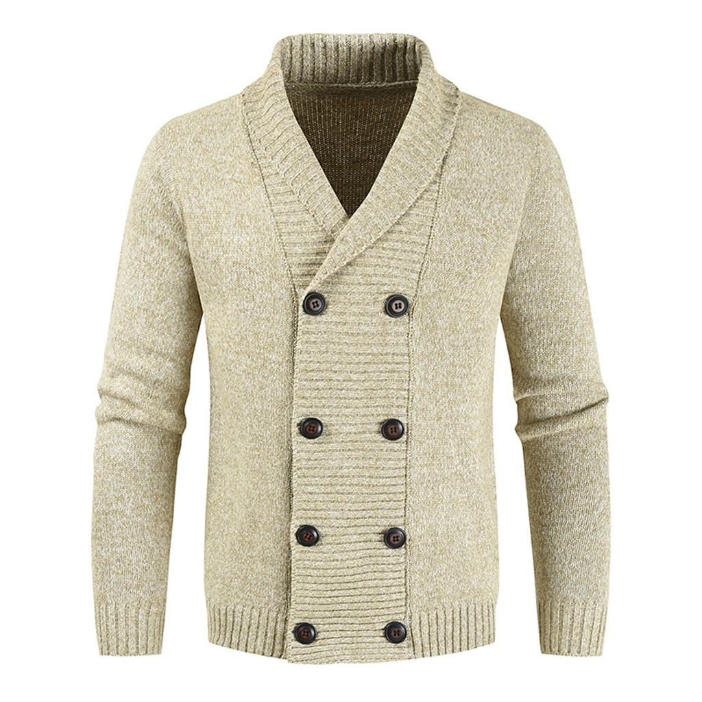 Men's Casual Knit Double Breasted Cardigan Long Sleeve Jacket Shirt