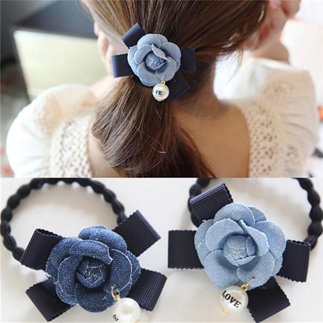 Flower Hair Bobble Elastic Ladies Girls Ponytail Holder Weddings Flower Girls