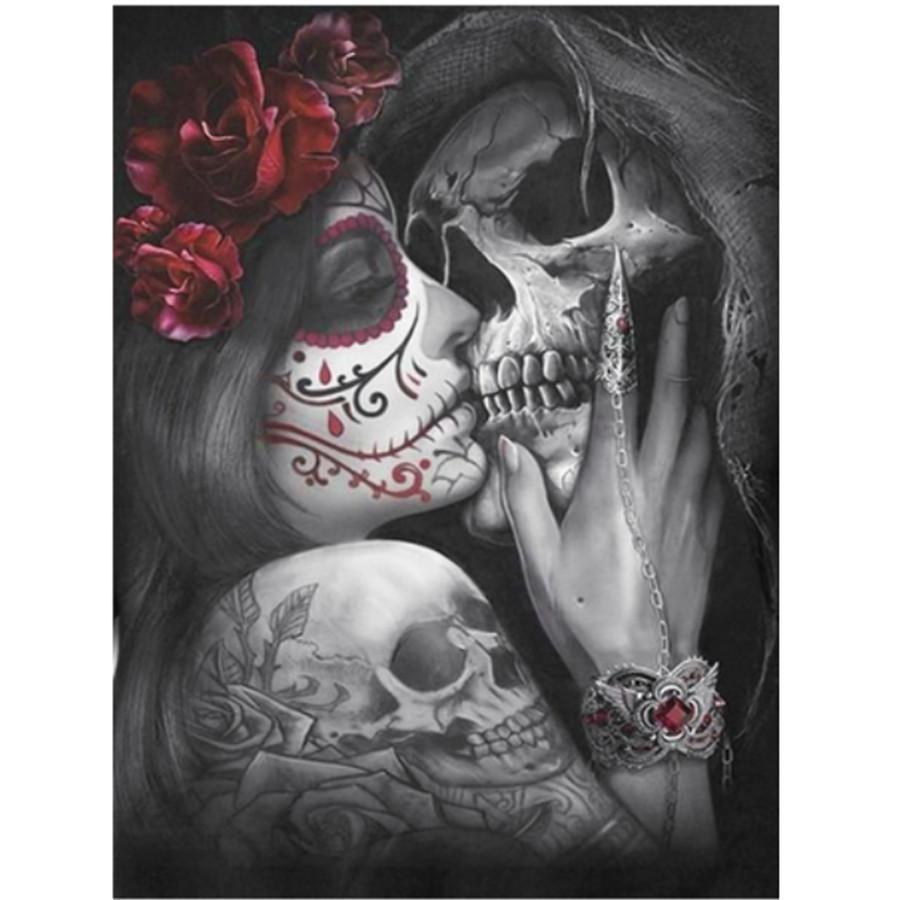 Full 5D Drill Diamond Painting Mosaic Art Craft Beauty Skull Love Cross Stitch