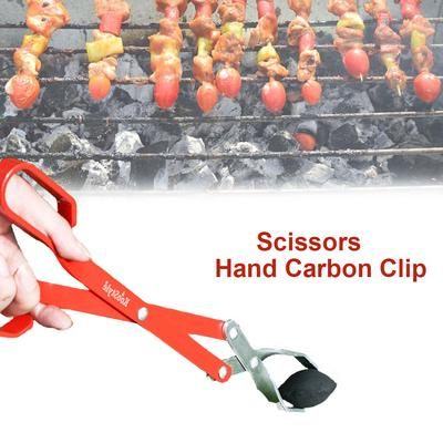 Stainless Steel Scissors Type Grilled Food Clip Portable Barbecue Tongs UM
