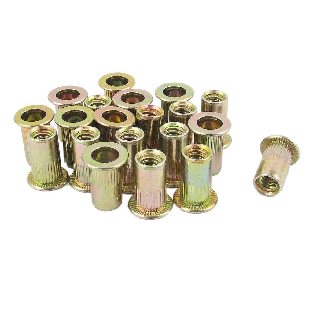 uxcell 10pcs M10x15mm Threaded Insert Nuts Zinc Alloy Hex Socket M10 Internal Threads 15mm Length