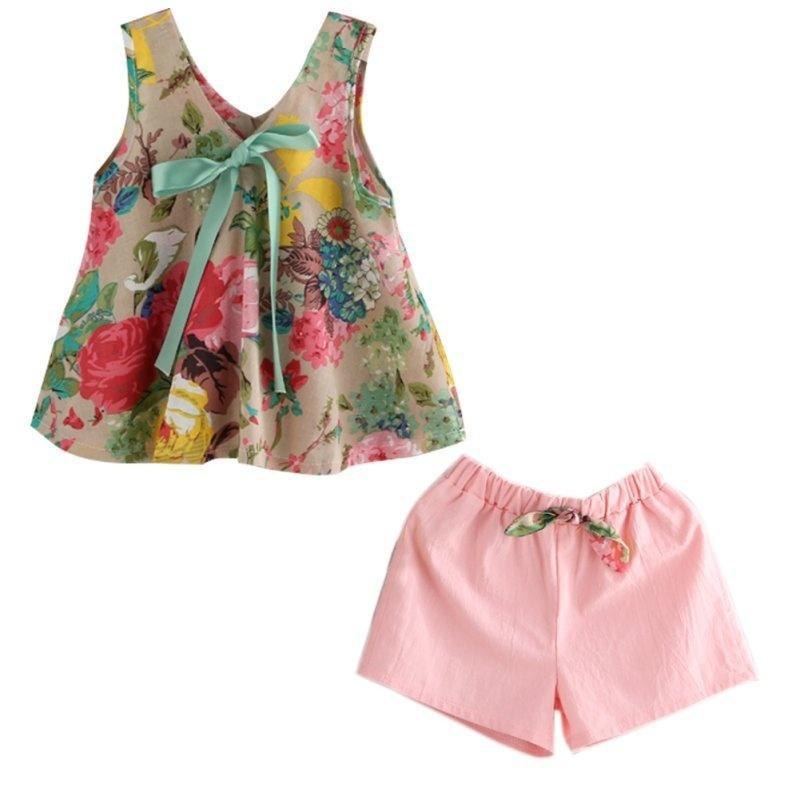 Shorts Pants Outfit Set UK Newborn Kids Baby Boy Girl Cotton/&Linen Tops T-shirt