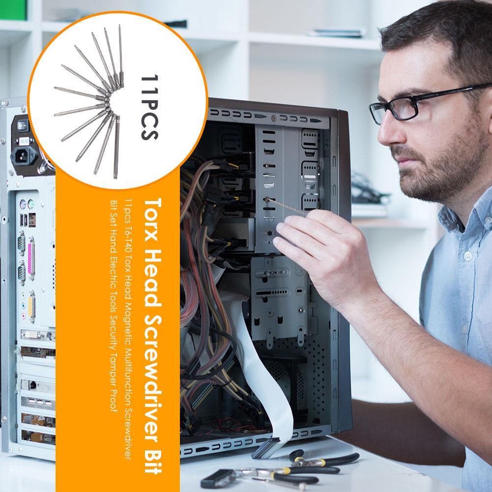 11pcs T6-T40 Torx Head Magnetic Screwdriver Bit Set Security Tamper Proof Tool