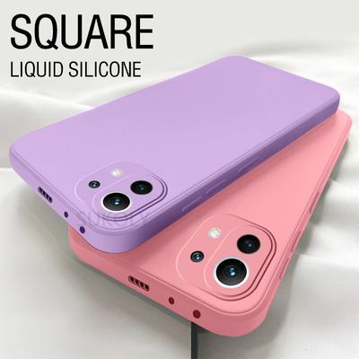 Luxury Square Soft Cover For Xiaomi Mi 11 10 Lite 10T Pro Redmi Note 9 Pro Liquid Silicone Case